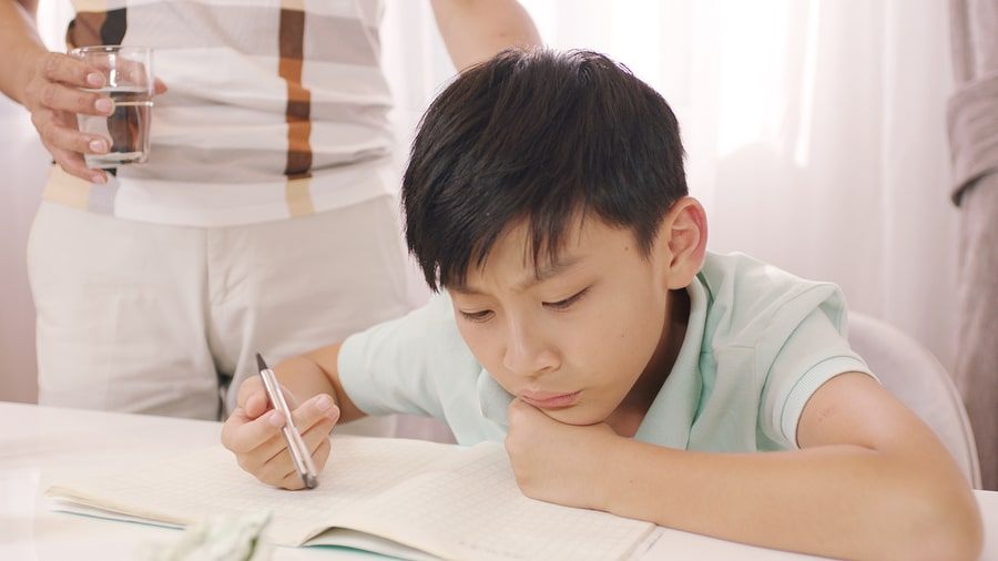 Frustrated student studying